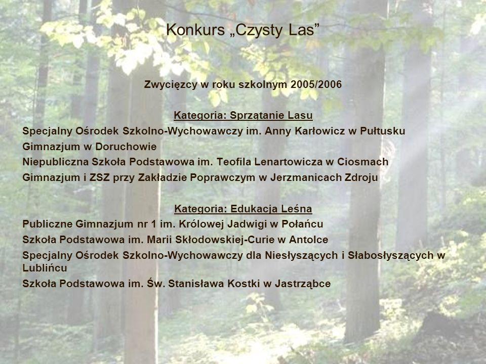 """Konkurs """"Czysty Las Zwycięzcy w roku szkolnym 2005/2006"""
