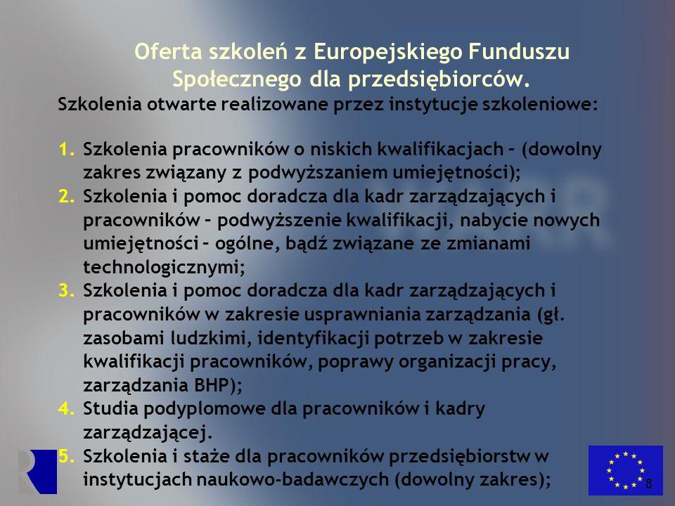 Oferta szkoleń z Europejskiego Funduszu Społecznego dla przedsiębiorców.