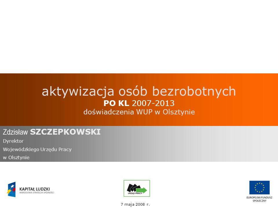 aktywizacja osób bezrobotnych PO KL 2007-2013 doświadczenia WUP w Olsztynie