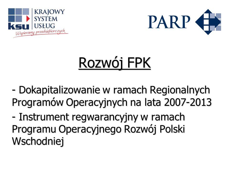 Rozwój FPK - Dokapitalizowanie w ramach Regionalnych Programów Operacyjnych na lata 2007-2013.