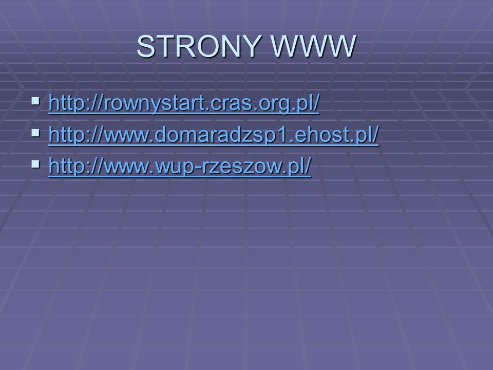 STRONY WWW http://rownystart.cras.org.pl/
