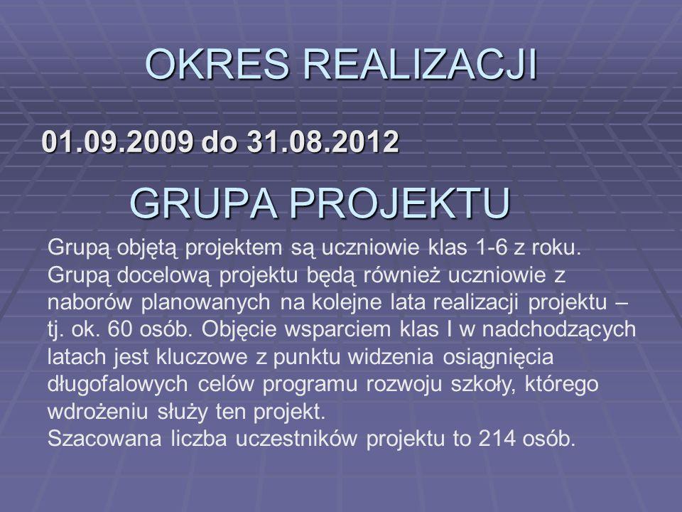 OKRES REALIZACJI GRUPA PROJEKTU 01.09.2009 do 31.08.2012