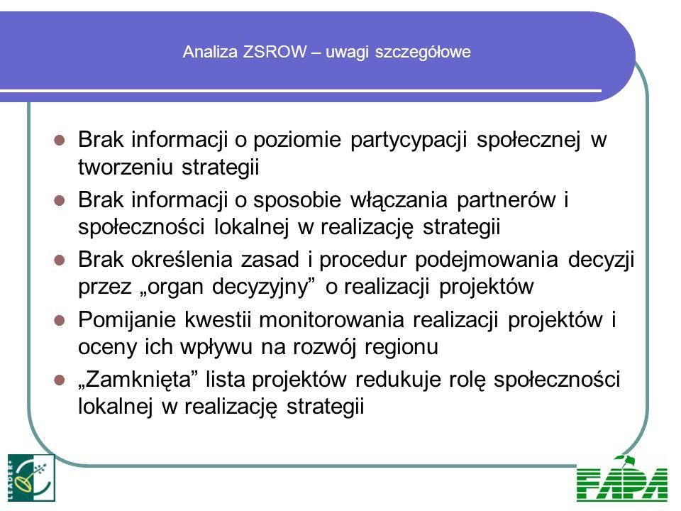 Analiza ZSROW – uwagi szczegółowe