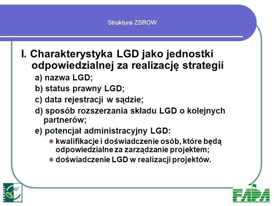 Struktura ZSROWI. Charakterystyka LGD jako jednostki odpowiedzialnej za realizację strategii. a) nazwa LGD;