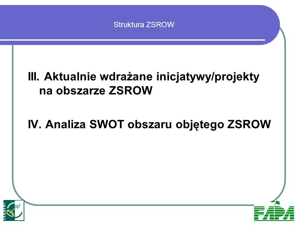 III. Aktualnie wdrażane inicjatywy/projekty na obszarze ZSROW
