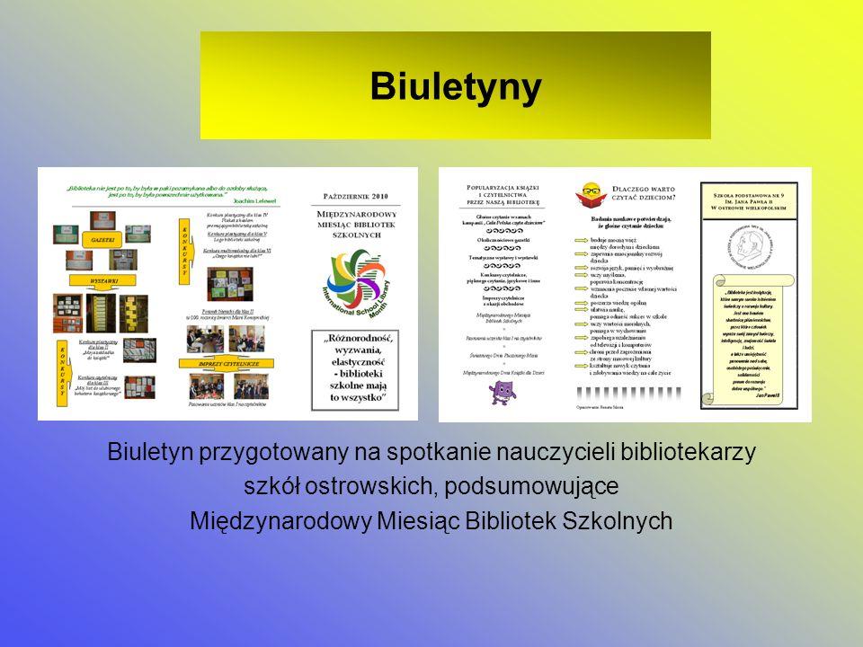 Biuletyny Biuletyn przygotowany na spotkanie nauczycieli bibliotekarzy