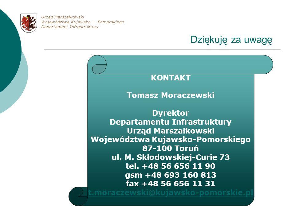 Dziękuję za uwagę KONTAKT Tomasz Moraczewski Dyrektor