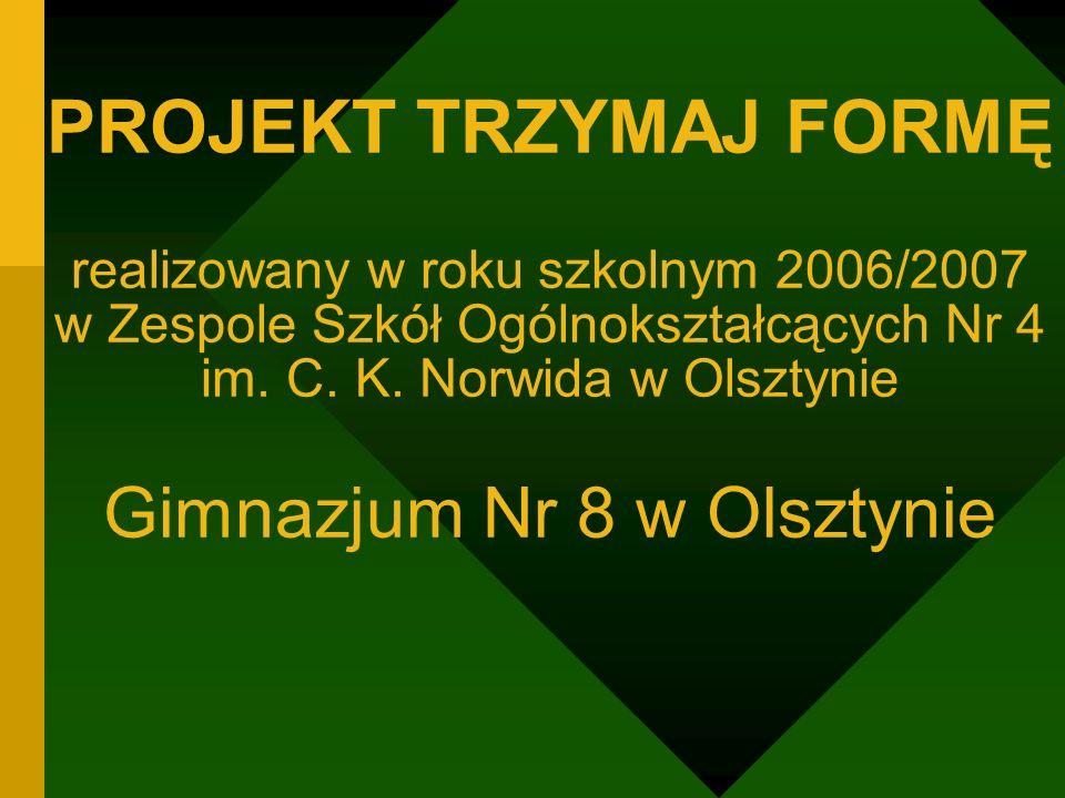 PROJEKT TRZYMAJ FORMĘ realizowany w roku szkolnym 2006/2007 w Zespole Szkół Ogólnokształcących Nr 4 im.
