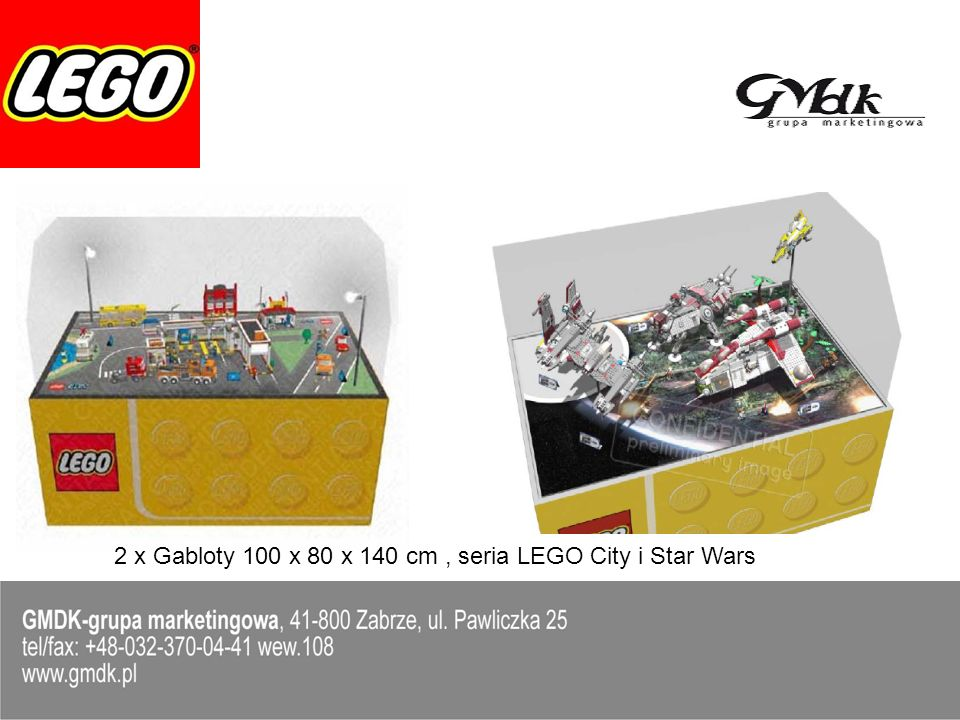 2 x Gabloty 100 x 80 x 140 cm , seria LEGO City i Star Wars