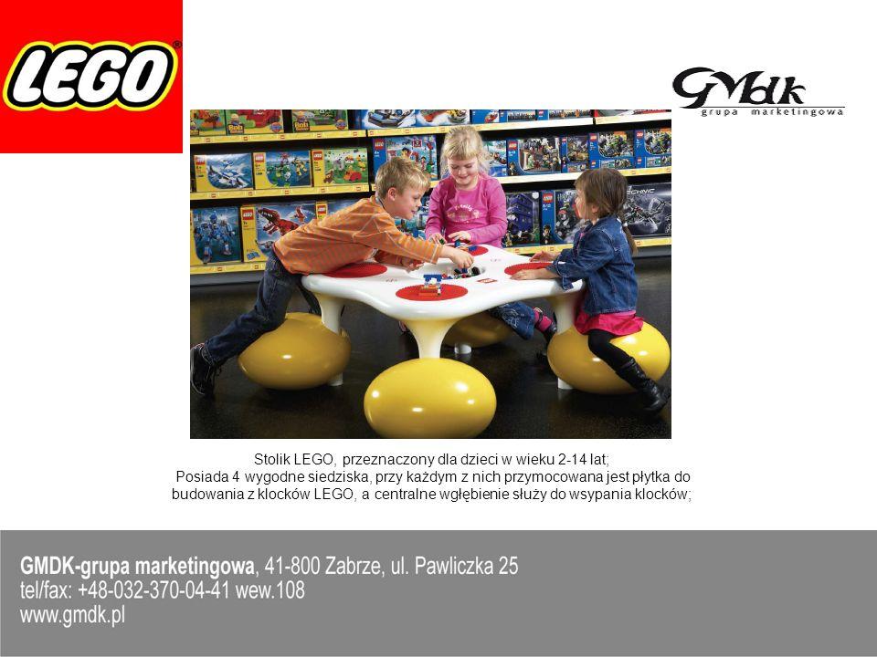 Stolik LEGO, przeznaczony dla dzieci w wieku 2-14 lat;