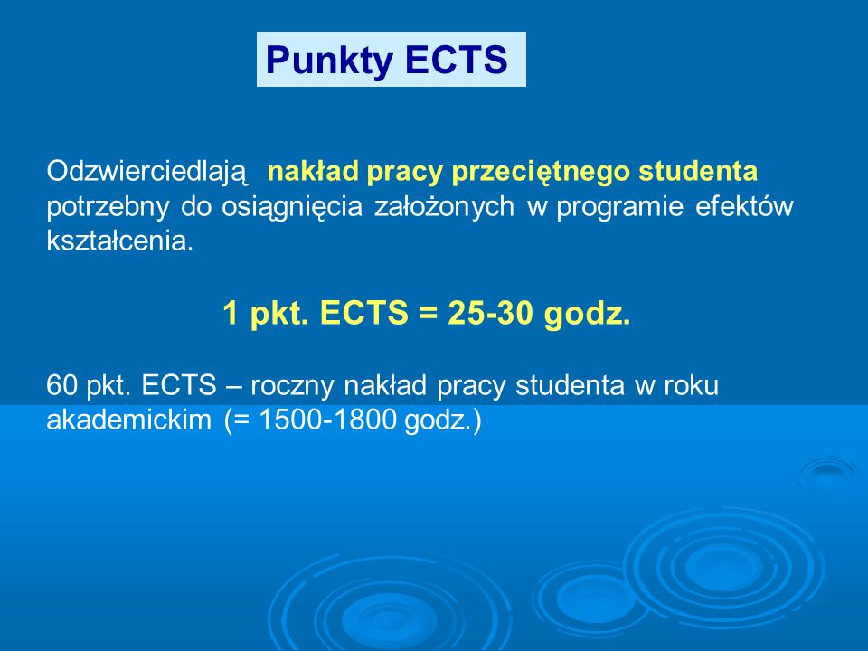 Punkty ECTS 1 pkt. ECTS = 25-30 godz.