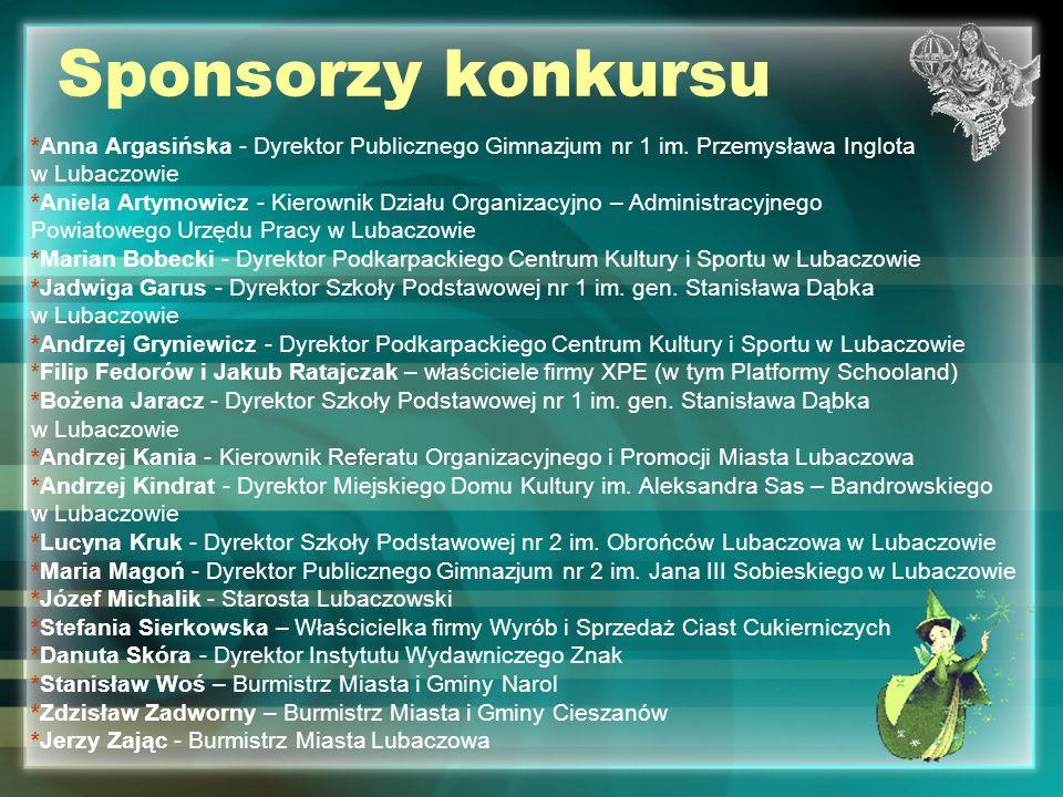 Sponsorzy konkursu *Anna Argasińska - Dyrektor Publicznego Gimnazjum nr 1 im. Przemysława Inglota. w Lubaczowie.