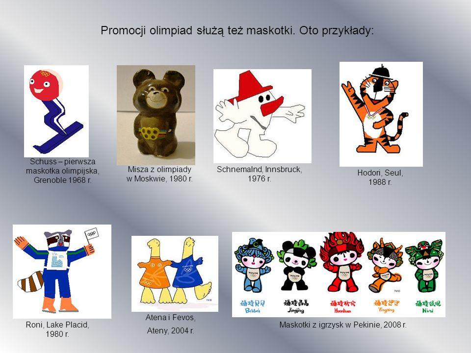Promocji olimpiad służą też maskotki. Oto przykłady: