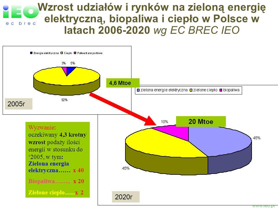 Wzrost udziałów i rynków na zieloną energię elektryczną, biopaliwa i ciepło w Polsce w latach 2006-2020 wg EC BREC IEO