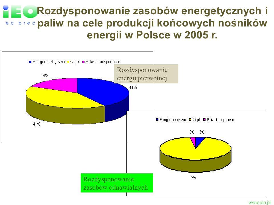 Rozdysponowanie zasobów energetycznych i paliw na cele produkcji końcowych nośników energii w Polsce w 2005 r.