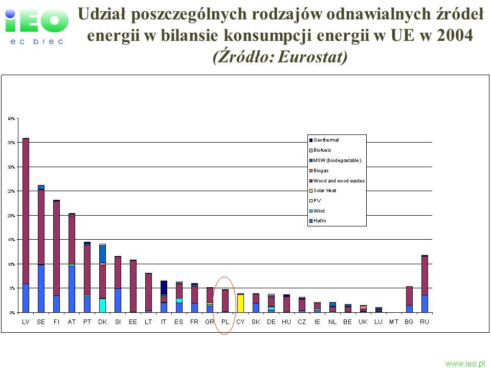 Udział poszczególnych rodzajów odnawialnych źródeł energii w bilansie konsumpcji energii w UE w 2004