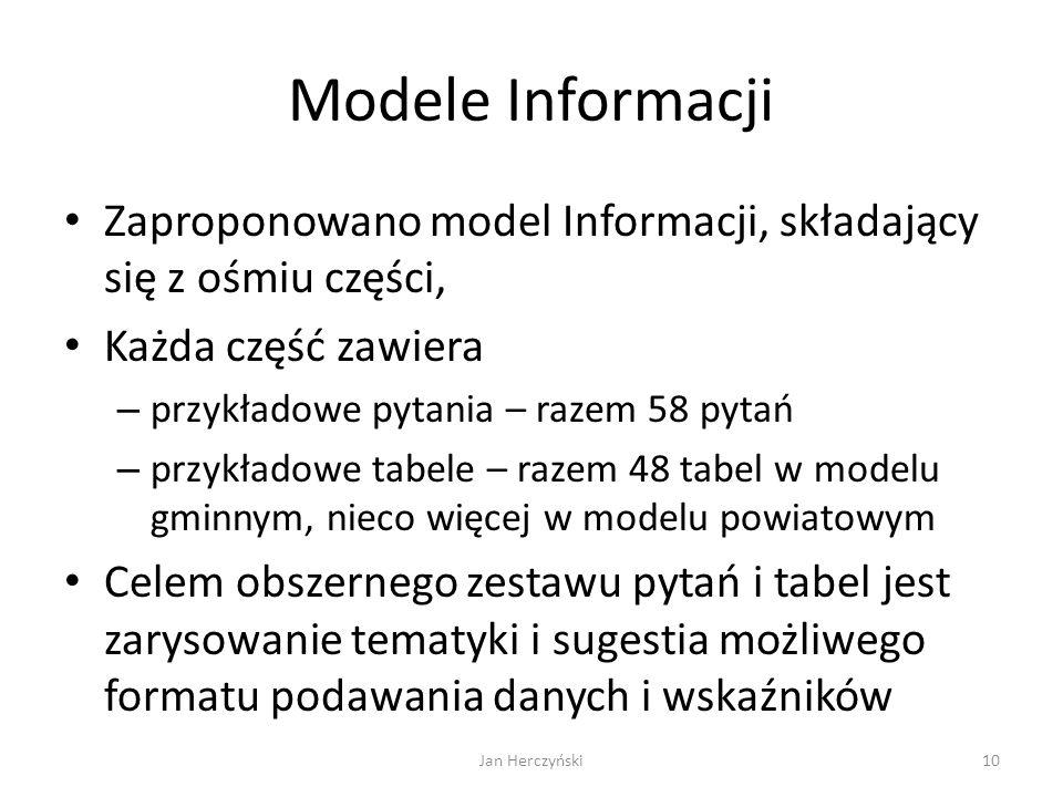 Modele Informacji Zaproponowano model Informacji, składający się z ośmiu części, Każda część zawiera.