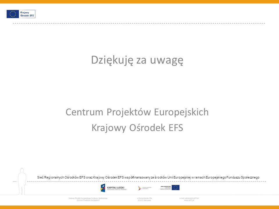 Dziękuję za uwagę Centrum Projektów Europejskich Krajowy Ośrodek EFS