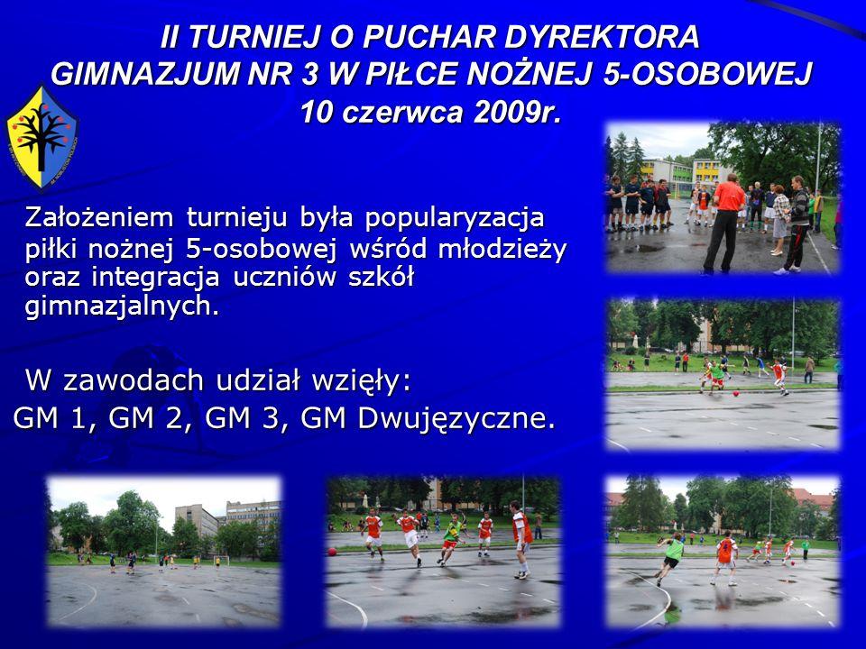 II TURNIEJ O PUCHAR DYREKTORA GIMNAZJUM NR 3 W PIŁCE NOŻNEJ 5-OSOBOWEJ 10 czerwca 2009r.
