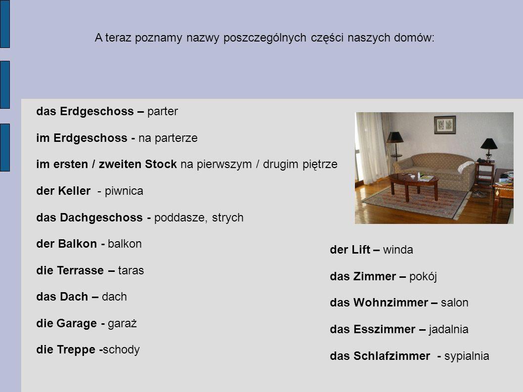 A teraz poznamy nazwy poszczególnych części naszych domów: