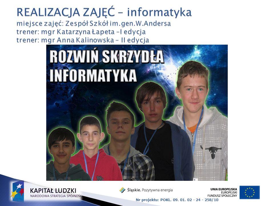 REALIZACJA ZAJĘĆ – informatyka miejsce zajęć: Zespół Szkół im. gen. W