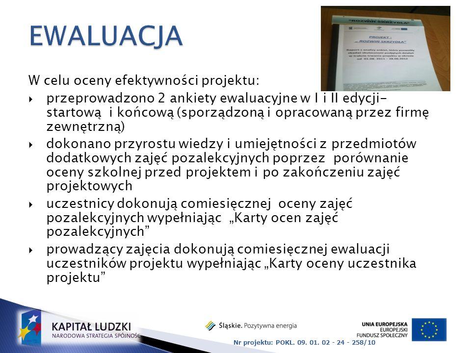 EWALUACJA W celu oceny efektywności projektu:
