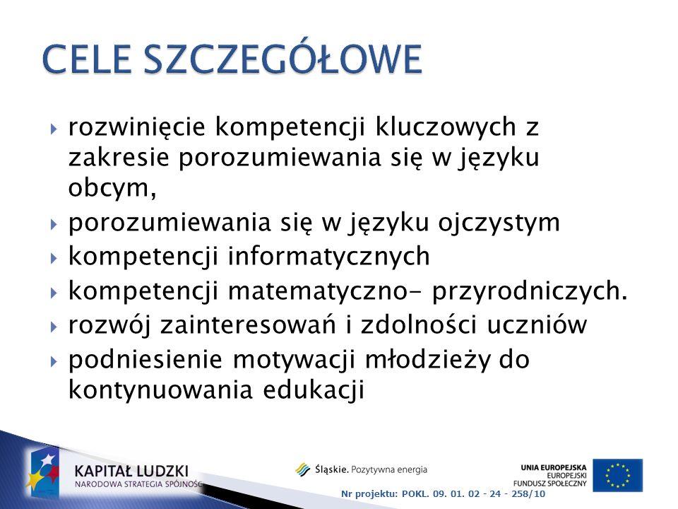 CELE SZCZEGÓŁOWE rozwinięcie kompetencji kluczowych z zakresie porozumiewania się w języku obcym,