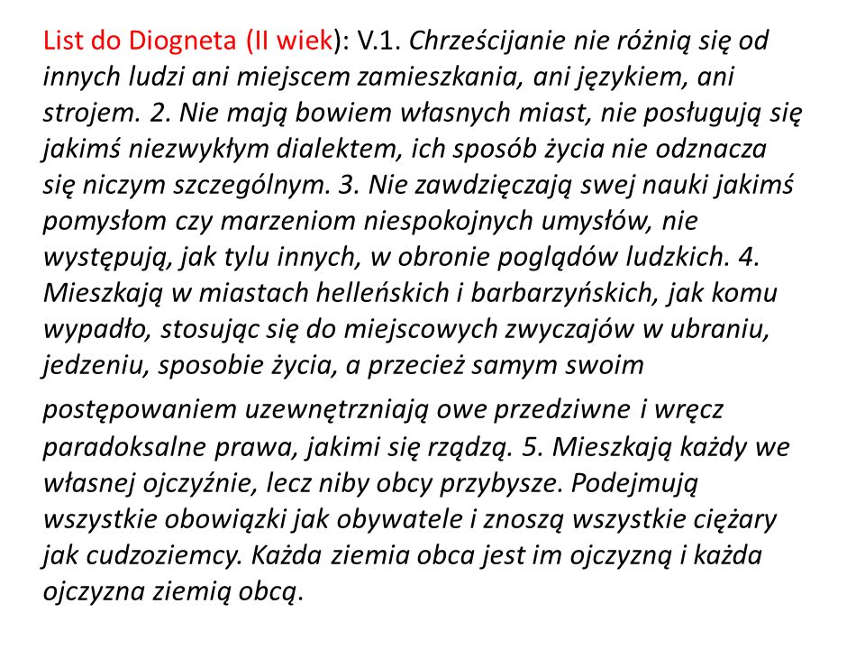 List do Diogneta (II wiek): V. 1