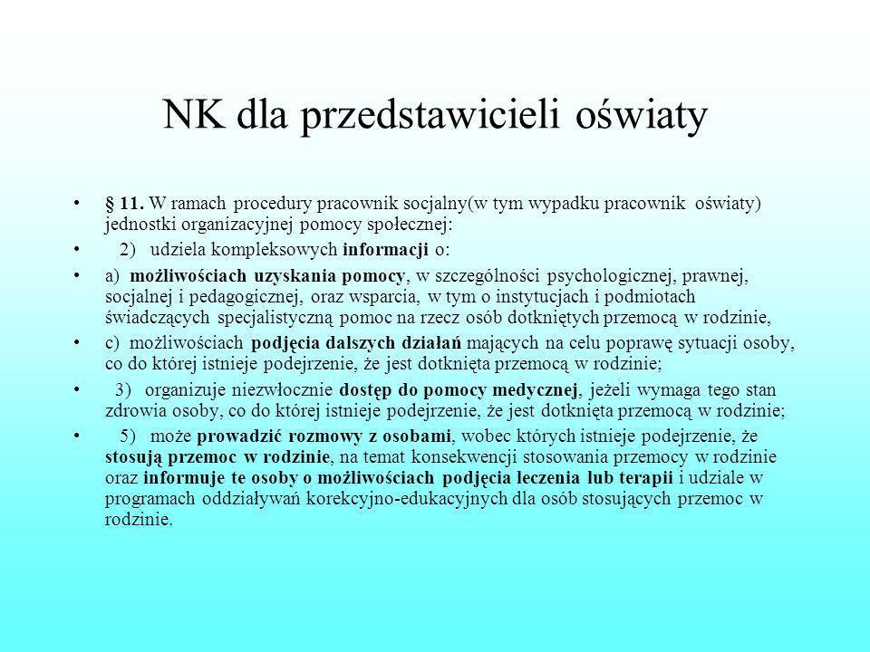 NK dla przedstawicieli oświaty