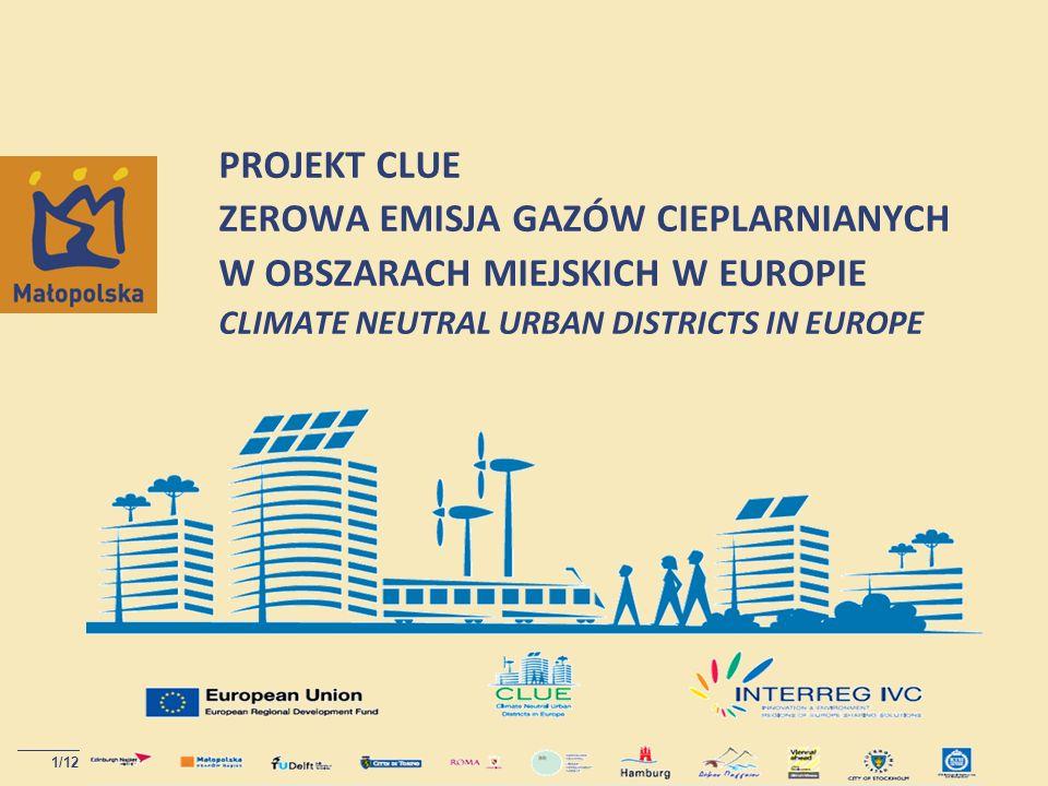 PROJEKT CLUE ZEROWA EMISJA GAZÓW CIEPLARNIANYCH W OBSZARACH MIEJSKICH W EUROPIE CLIMATE NEUTRAL URBAN DISTRICTS IN EUROPE