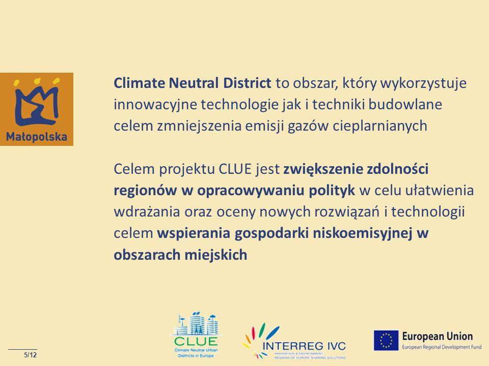 Climate Neutral District to obszar, który wykorzystuje innowacyjne technologie jak i techniki budowlane celem zmniejszenia emisji gazów cieplarnianych Celem projektu CLUE jest zwiększenie zdolności regionów w opracowywaniu polityk w celu ułatwienia wdrażania oraz oceny nowych rozwiązań i technologii celem wspierania gospodarki niskoemisyjnej w obszarach miejskich