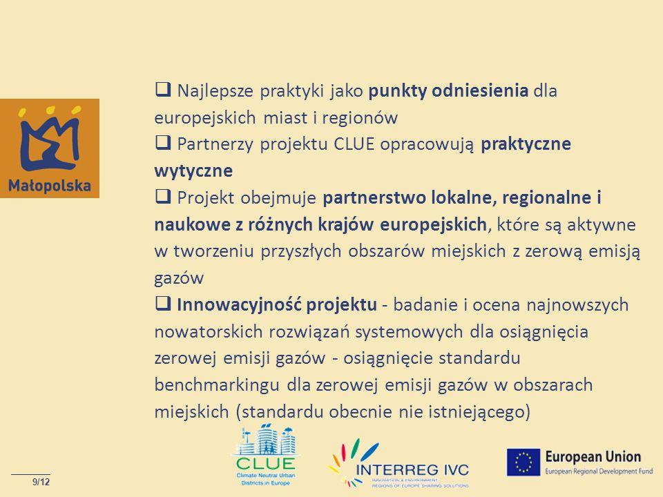  Najlepsze praktyki jako punkty odniesienia dla europejskich miast i regionów  Partnerzy projektu CLUE opracowują praktyczne wytyczne  Projekt obejmuje partnerstwo lokalne, regionalne i naukowe z różnych krajów europejskich, które są aktywne w tworzeniu przyszłych obszarów miejskich z zerową emisją gazów  Innowacyjność projektu - badanie i ocena najnowszych nowatorskich rozwiązań systemowych dla osiągnięcia zerowej emisji gazów - osiągnięcie standardu benchmarkingu dla zerowej emisji gazów w obszarach miejskich (standardu obecnie nie istniejącego)