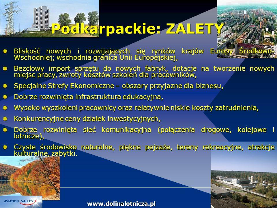 Podkarpackie: ZALETY Bliskość nowych i rozwijających się rynków krajów Europy Środkowo-Wschodniej; wschodnia granica Unii Europejskiej,