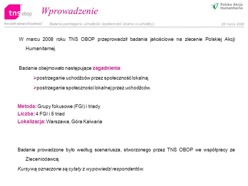 Wprowadzenie W marcu 2008 roku TNS OBOP przeprowadził badania jakościowe na zlecenie Polskiej Akcji Humanitarnej.