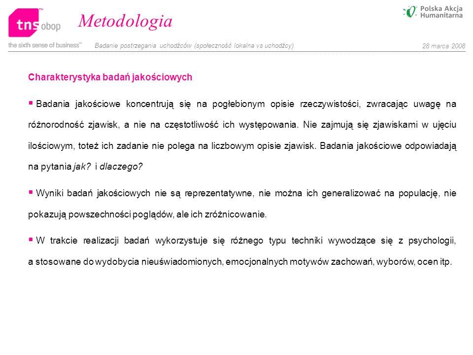 Metodologia Charakterystyka badań jakościowych