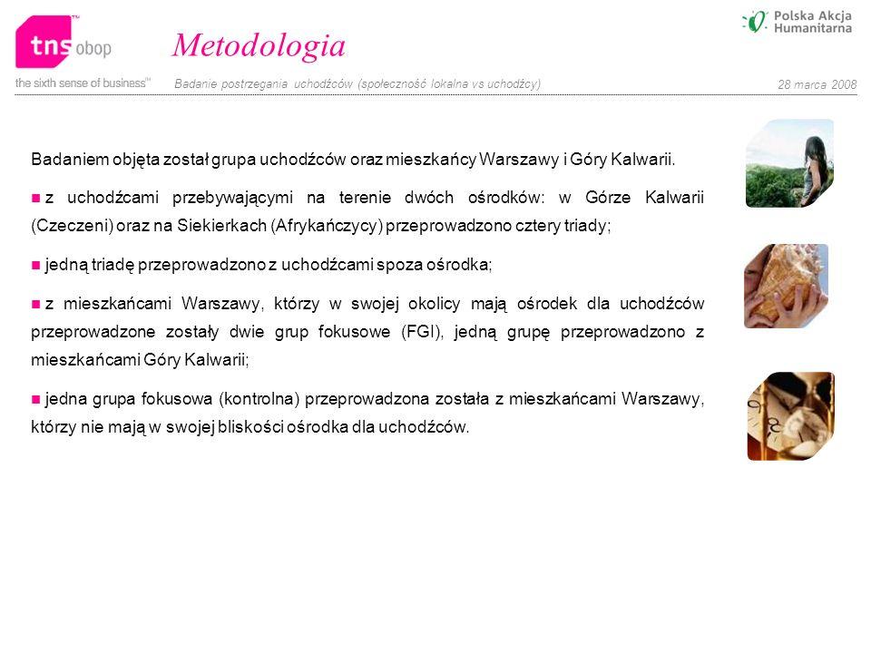 Metodologia Badaniem objęta został grupa uchodźców oraz mieszkańcy Warszawy i Góry Kalwarii.