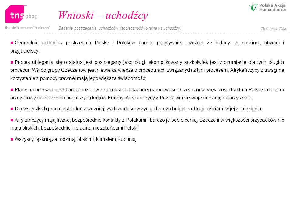 Wnioski – uchodźcy Generalnie uchodźcy postrzegają Polskę i Polaków bardzo pozytywnie, uważają że Polacy są gościnni, otwarci i przyjacielscy;