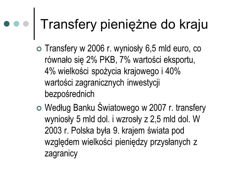 Transfery pieniężne do kraju