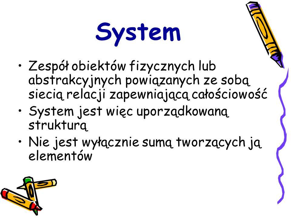 System Zespół obiektów fizycznych lub abstrakcyjnych powiązanych ze sobą siecią relacji zapewniającą całościowość.