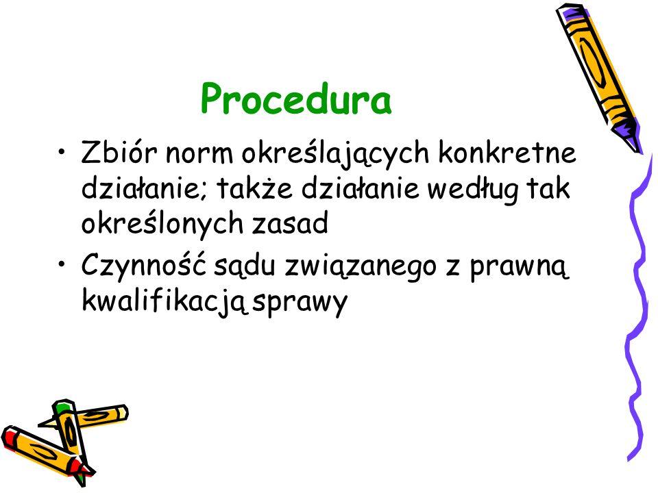 Procedura Zbiór norm określających konkretne działanie; także działanie według tak określonych zasad.