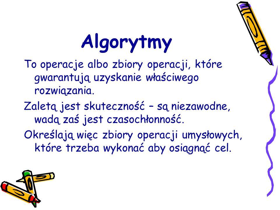 Algorytmy To operacje albo zbiory operacji, które gwarantują uzyskanie właściwego rozwiązania.