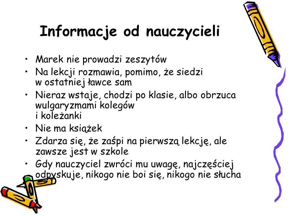 Informacje od nauczycieli