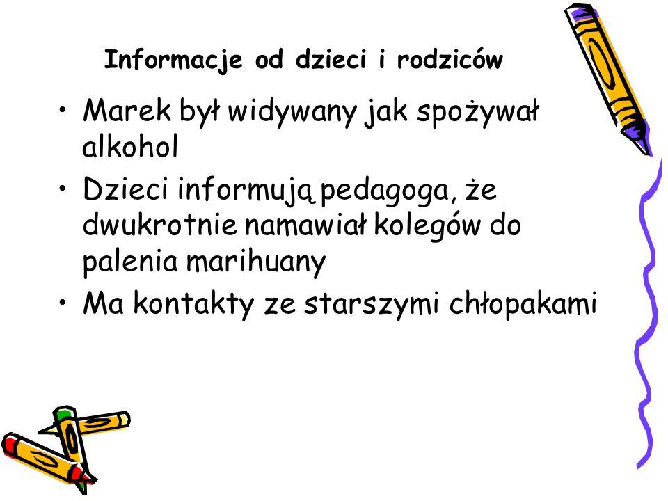 Informacje od dzieci i rodziców