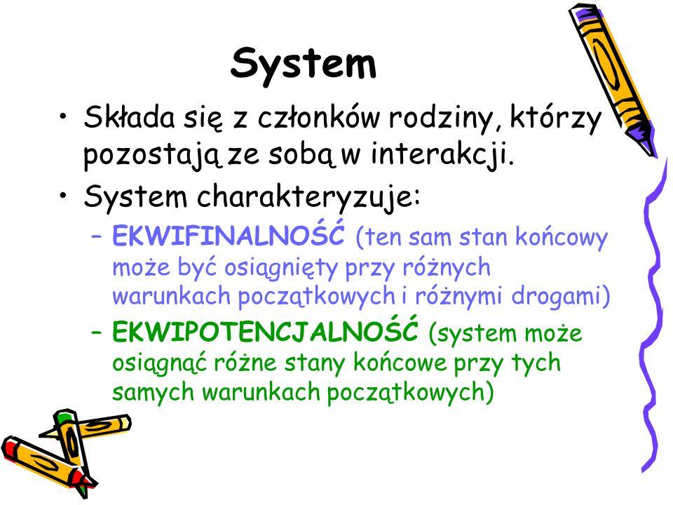 System Składa się z członków rodziny, którzy pozostają ze sobą w interakcji. System charakteryzuje: