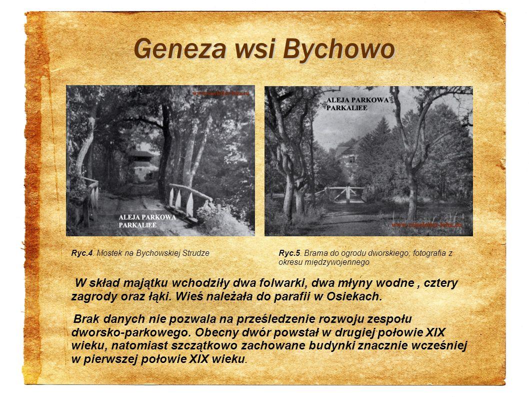 Geneza wsi Bychowo Ryc.4. Mostek na Bychowskiej Strudze. Ryc.5. Brama do ogrodu dworskiego; fotografia z okresu międzywojennego.