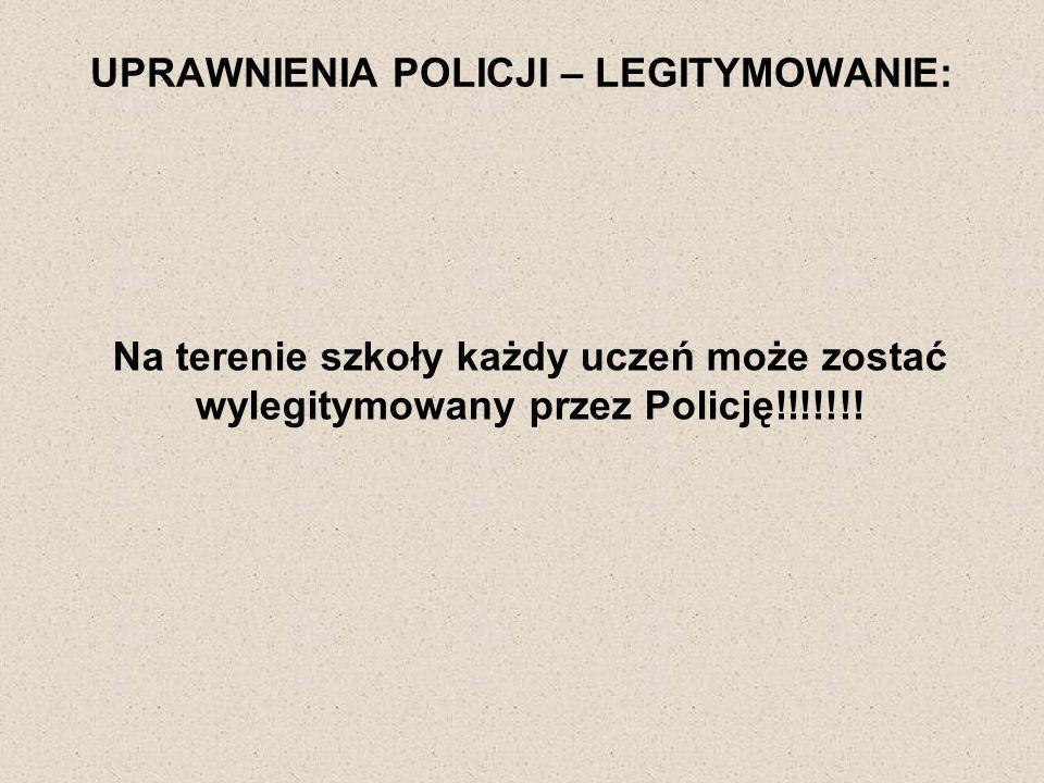 UPRAWNIENIA POLICJI – LEGITYMOWANIE: