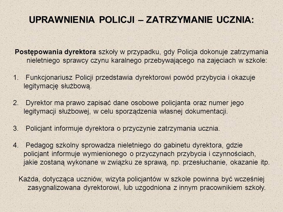 UPRAWNIENIA POLICJI – ZATRZYMANIE UCZNIA: