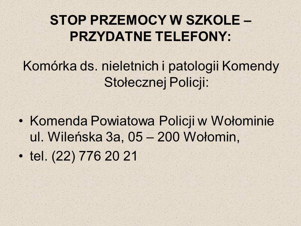 STOP PRZEMOCY W SZKOLE – PRZYDATNE TELEFONY: