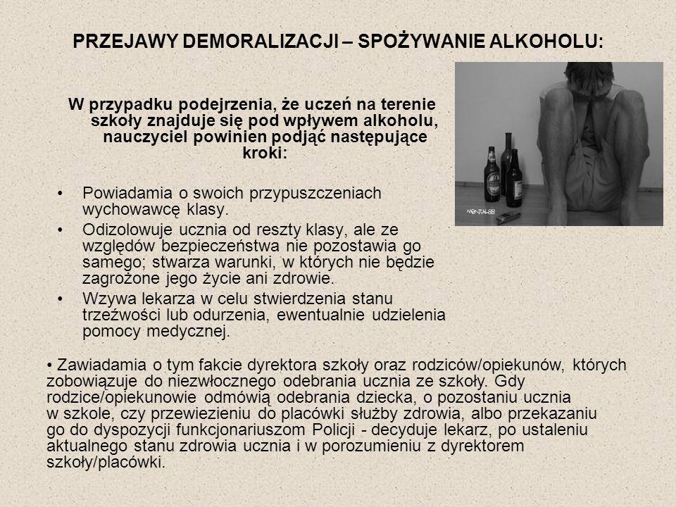 PRZEJAWY DEMORALIZACJI – SPOŻYWANIE ALKOHOLU: