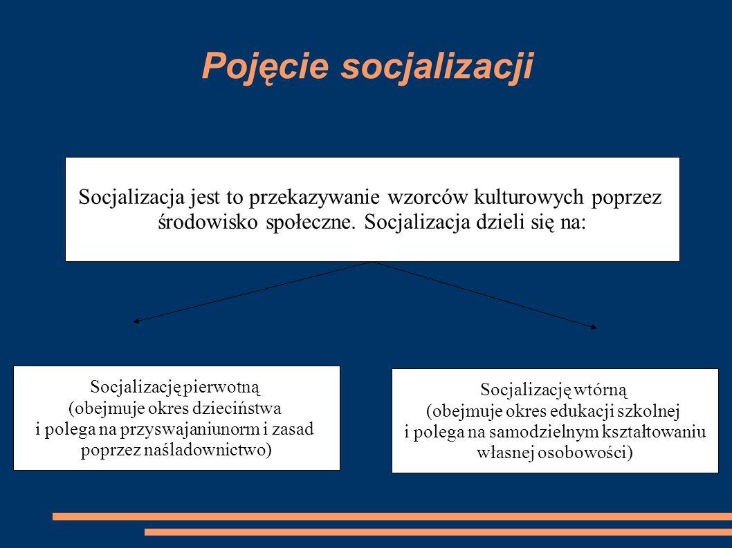 Pojęcie socjalizacji Socjalizacja jest to przekazywanie wzorców kulturowych poprzez. środowisko społeczne. Socjalizacja dzieli się na: